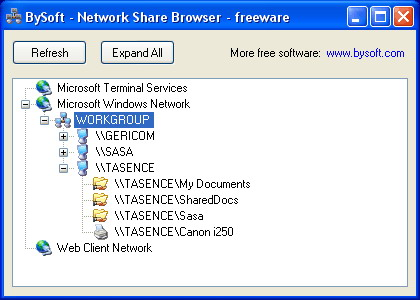 Explore shared resources on your local network. Freeware!